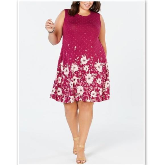 fd4d3fbb4af240 Style & Co Dresses | Style Co Macys Plus Pink Floral Swing Dress 0x ...